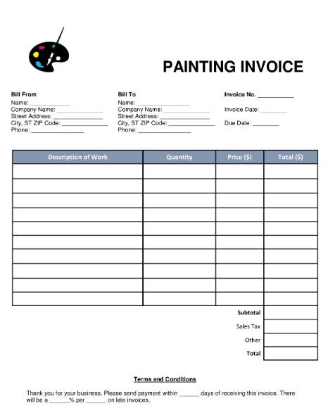 Painting Contractor Invoice House Painting Invoice Example Invoice Template Invoice Template Word Invoice Design