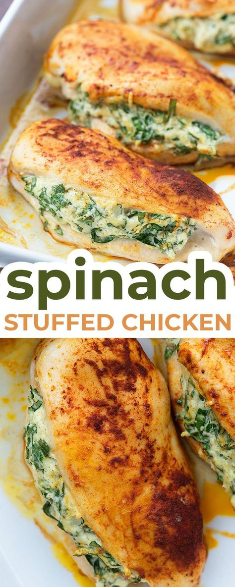This easy stuffed chicken breast recipe is going to be a new low carb family favorite! The cream cheese and Parmesan add a ton of flavor to this spinach stuffed chicken and the whole recipe is super quick to prepare. Healthy Low Carb Dinners, Easy Meals, Easy Chicken Meals, Easy Stuffed Chicken Recipes, Low Carb Chicken Dinners, Low Carb Food, Healthy Suppers, Low Carb Chicken Parmesan, Low Fat Low Carb