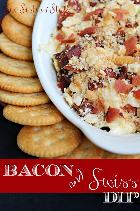 Hot Bacon and Swiss Dip on SixSistersStuff.com - the perfect snack or appetizer!