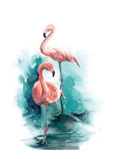 Pink Flamingo Impression A L Aquarelle Art Sur Le Flamant Rose