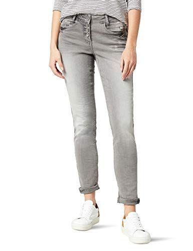 CECIL Damen Straight Jeans Scarlett 370975 Grau (Mid Grey