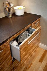 Built In Dishwasher In Striped Bamboo Cabinets With Paperstone Countertop.  GreenWorks Building Supply Vancouver,