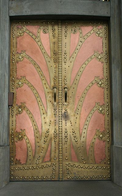Stunning pink & gold door at the Goethe Institute, Prague