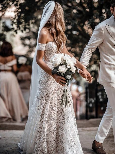 Boho Wedding Dress With Sleeves, Lace Beach Wedding Dress, Wedding Dress Organza, Western Wedding Dresses, Sweetheart Wedding Dress, Seaside Wedding, Dress Lace, Bridal Gowns, Country Wedding Gowns