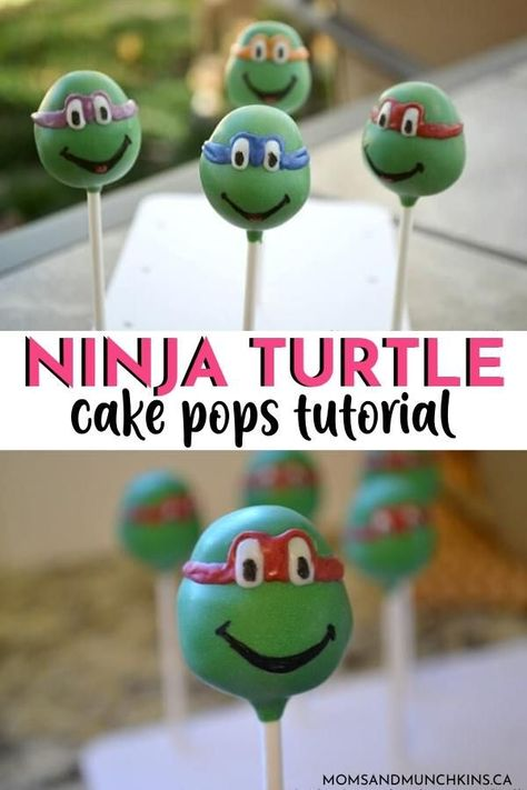 The fabulous Deanna of Dee's-licious Desserts walks us through the steps of creating Ninja Turtle Cake Pops for your TMNT party! Ninja Turtle Cake Pops, Ninja Turtle Birthday Cake, Turtle Birthday Parties, Birthday Cake Pops, Third Birthday, Birthday Ideas, Ninja Party, Ninja Turtle Party, Ninja Turtles