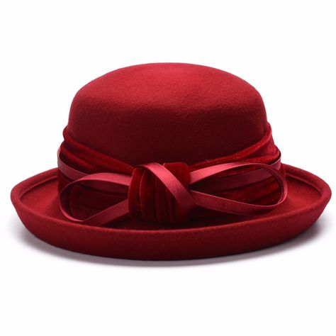 e7b33d559bf73 Upturned Brim Women Satin Velvet Trim Wool Felt Church Racing Wedding Hats  T281