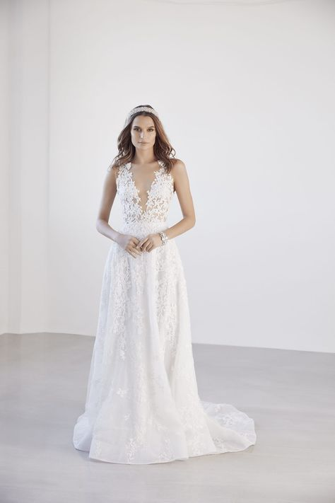 Illusion Sleeve High Neck Plus Size Wedding Dress | David's Bridal