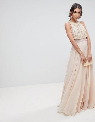 a7775a4e2ad ASOS Crop Top Maxi Dress With Pearl Embellishment