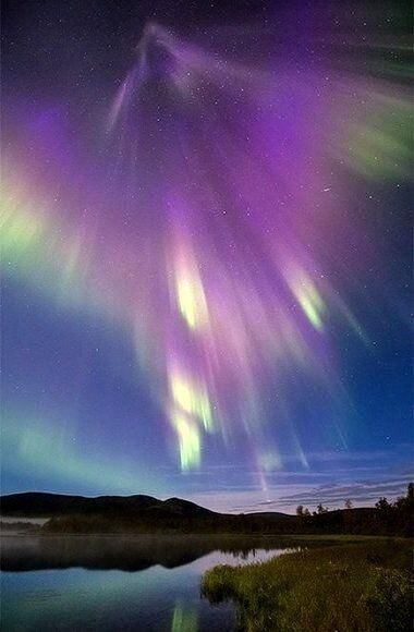 """New Aurora Pictures: Solar Flare Sparks """"Snakes,"""" """"Spears"""" – Lisa Martin New Aurora Pictures: Solar Flare Sparks """"Snakes,"""" """"Spears"""" A supernova-like burst of mostly purple auroras lights up Finnish countryside in a wide-angle sky shot. Beautiful Sky, Beautiful World, Ciel Nocturne, Archangel Gabriel, To Infinity And Beyond, Science And Nature, Amazing Nature, Belle Photo, Night Skies"""