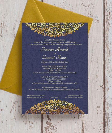Personalised Navy Blue & Gold Indian / Asian Wedding Invitations. Printable PDF or Printed & Delivered