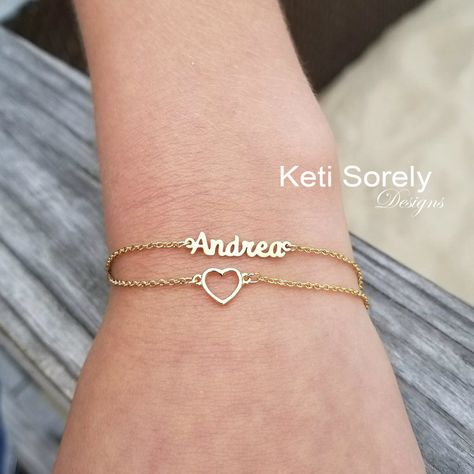 Anklets Image 1 - Personalized heart bracelet to be custom made with your name in Silver, or solid gold