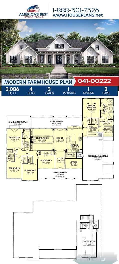 Feb 13 2020 Plan 041 00222 Details A Marvelous 1 Story Modern Farmhouse Complete With 3 086 Sq Modern Farmhouse Plans Farmhouse Plans House Plans Farmhouse