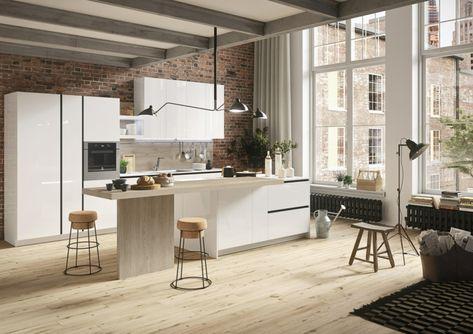 Tavoli In Pietra Per Interni.Moderno Arredamento Per Cucina Con Isola E Tavolo Rivestimento