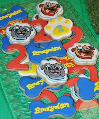 Very Bright And Colorful Puppy Dog Pals Cookies For A Birthday Party Puppy Birthday Parties Puppy Birthday Boy Birthday Parties