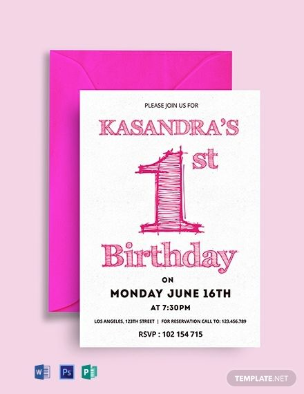Free 1st Birthday Party Invitation Card Template Word Doc Psd Indesign Apple Mac Pages Publisher In 2020 Birthday Invitation Card Template 1st Birthday Party Invitations 1st Birthday Invitations