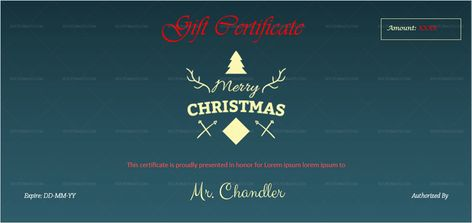 Download Christmas Gift Certificate Template (BLU, #997T) MS WORD in Microsoft Word (DOC). Christmas Gift Certificate Template (BLU, #997T) MS WORD is designed by expert designers and is completely customizable. Download, Edit  Print.