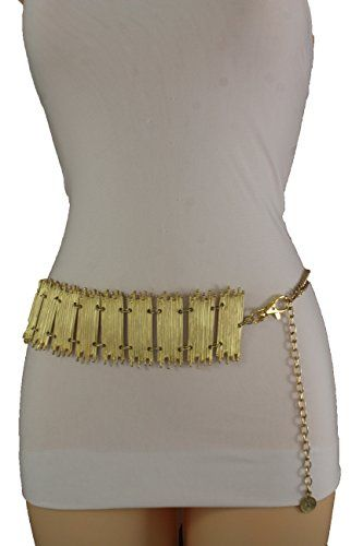 608bd74993d62 Trendy Fashion Jewelry Women Fashion Belt Wide Metal Chain Thick Hip High  Waist Gold Plates XS S M L