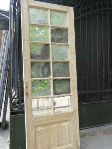 Blank Houten Spiegel.Antieke Geloogde Blank Grenen Houten Spiegel Deur Ruitjes