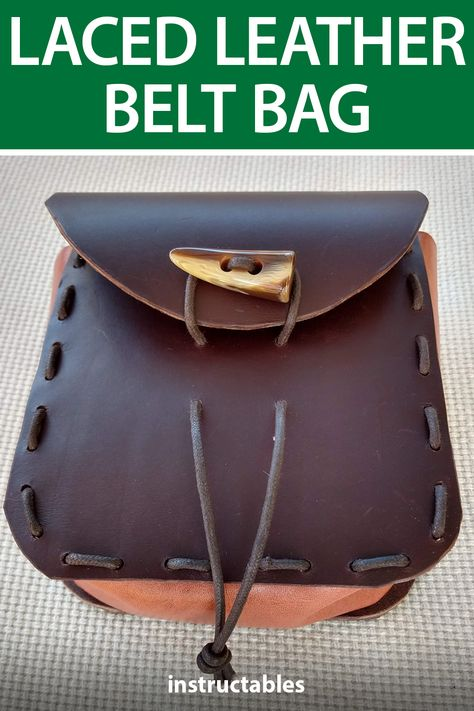 stormdevil laced up this nice leather belt bag that can be great for LARP or cosplay. #Instructables #leatherworking #costume #prop #fashion
