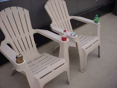 With a couple of 16 ounce frosting containers, you can add cup holders to any cheap chair!  Simply drill/cut a hole in the arm big enough to drop the containers through and you are set. This would work great for seating around the fire pit.