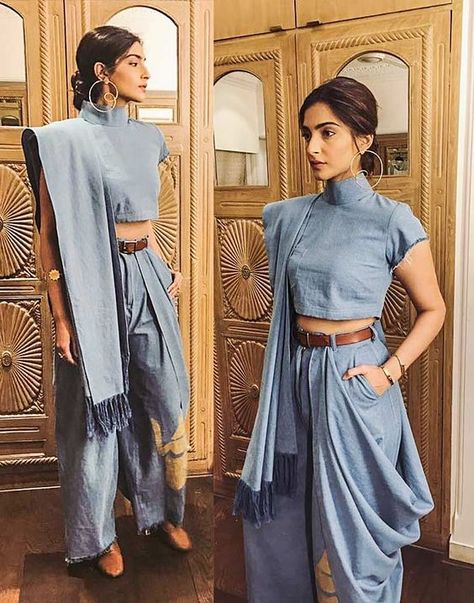 Sonam kapoor for Masaba Gupta.. love the radical denim sari!