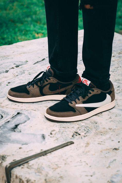 On Feet With Travis Scott S Air Jordan 1 Low Sneaker In 2020 Air