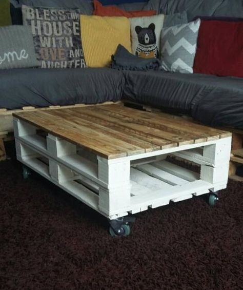 Pallet Coffee Table Industrial Style Rustic Sha ... - #Coffee #coffeetable #industrial #Pallet #rustic #sha #style #Table
