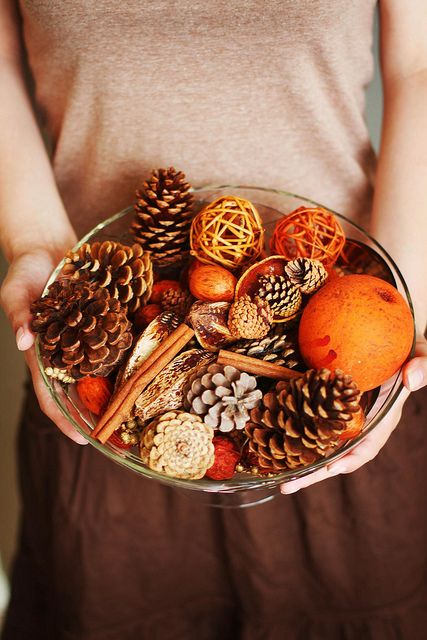 ...from pine cones gathered from the woods and dried oranges. You can almost smell the orange zest, cinnamon and pine in this photo!