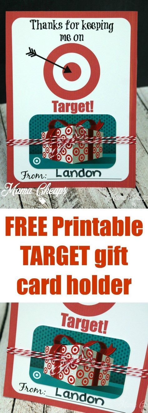 Thanks for Keeping Me on TARGET - FREE Printable Gift Card Holder - #card #FREE ... - #card #Free #Gift #Holder #Keeping #Printable #Target
