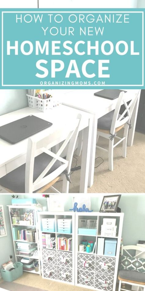 Homeschool room ideas to help you get organized for teaching and learning. Homeschool room setup, and organization ideas to help you plan out your own homeschool learning space. Like many of you, we suddenly started Home Learning, Learning Spaces, Learning Stations, Organized Mom, Getting Organized, Organiser Planning, Bonheur Simple, Homeschool Supplies, How To Start Homeschooling