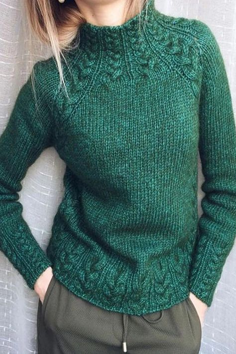 Solid Knitted Long Sleeves Sweaters - shopingnova