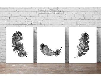 Illustration De Plume Lot De 3 Plumes Art Impression Noir Home