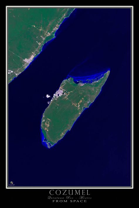 Cozumel Mexico From Space Satellite Poster Map Products Cozumel - Satellite mexico map
