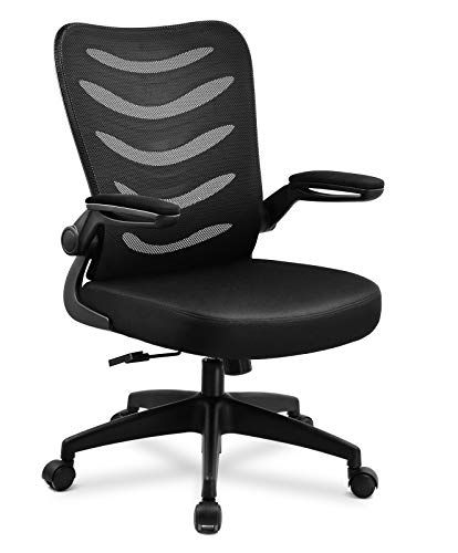 Comhoma Desk Chair Ergonomic Office Chair Mesh Computer Chair With Flip Up Arms Lumbar Support Adjustable Swivel Mid Back For Conference Home Office Blac 1 Tag