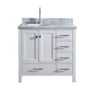 Stufurhome 36 In Ariane Single Sink Vanity In White With Marble Vanity Top In Carrara With White Basin Hd 1525w 36 Cr The Home Depot Marble Vanity Tops Single Sink Vanity Bathroom Vanity