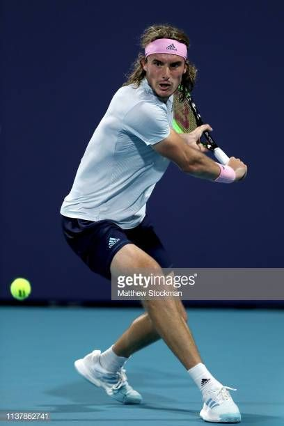 Stefanos Tsitsipas Of Greece Returns A Shot To Mackenzie Mcdonald During The Miami Open Presented By Itau At Hard Rock Tennis Drills Tennis Players Fun Sports