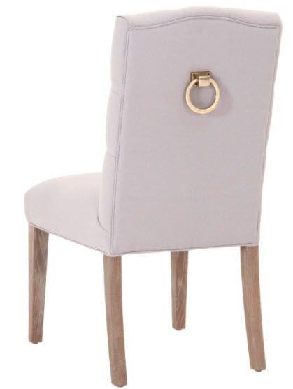 Granada Dining Chair Gray Gold Ring Hardware Leather Side Chair Dining Chairs Fabric Dining Chairs