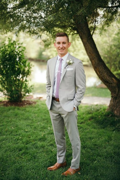 The groom, tailored gray suit, lavender tie - Groomsmen - Wedding