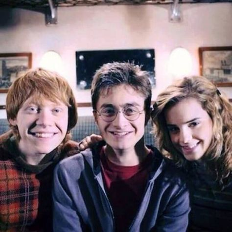 """Don't be rediculous. I could never leave you guys."" I said.    ""As hard as I try."" I muttered under my breath teasingly.      Harry let out a breathy laugh and I grinned at them.     ""You're my best friends."" I said.    I took Ron's hand.      ""My family"" I added as they smiled."