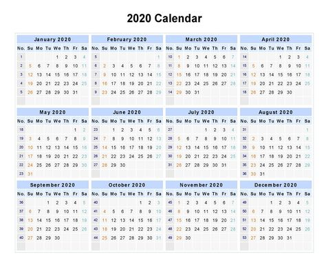 2020 One Page Calendar Printable With Images Calendar