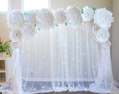 Peony Paper flower backdrop, Paper flower template, DIY paper flower, large paper flower template, wedding decor, paper flower tutorial,