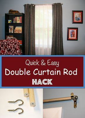 Quick Easy Diy Double Curtain Rod Hack Perfect For Hanging Sheers