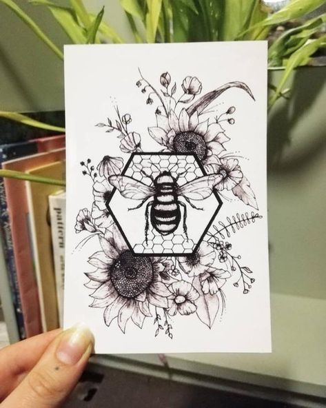 Floral honeycomb bee illustration inches digital print- sunflowers and wild flowers Tattoo Drawings, Body Art Tattoos, Sleeve Tattoos, Tatoos, Faith Tattoos, Forarm Tattoos, Tattoo Sketches, Bee Illustration, Botanical Illustration