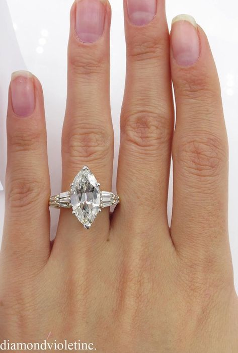 5.20ct Estate Vintage Old Euro Marquise Diamond Engagement | Etsy