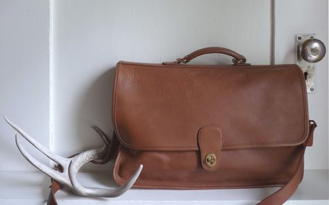 SOLD -- Vintage British Tan Coach Briefcase Made in USA by OpenSeasonShop bd1543be31548