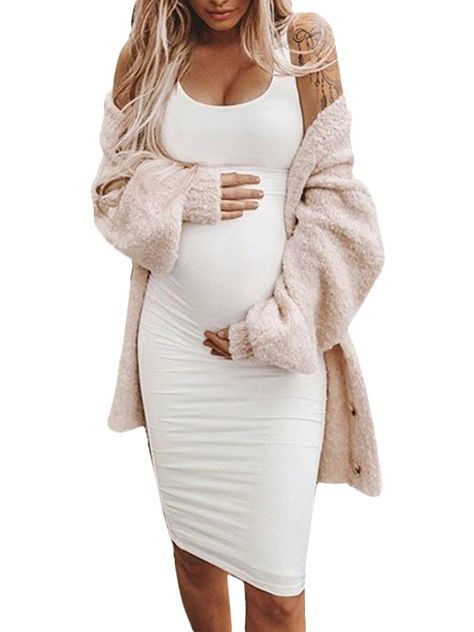 Jchiup jchiup women maternity summer sleeveless solid color bodycon tank dress - Mama and baby girl - Motherhood Casual Maternity Outfits, Maternity Dresses Summer, Stylish Maternity, Mom Outfits, Cute Pregnancy Outfits, Fitted Maternity Dress, Pregnancy Dress, Summer Maternity Fashion, Pregnancy Belly