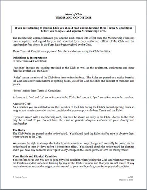 Sports Health Or Gym Club Membership Agreement Membership