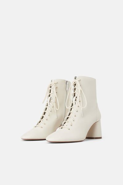 Leather laced heeled ankle boots