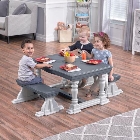 Step2 3 Piece Farmhouse Table Bench Set Grey Farmhouse Table