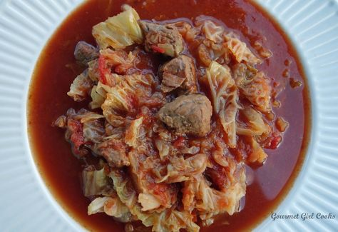 Low Carb Spicy Beef & Cabbage Soup -- Slow Cooker Style